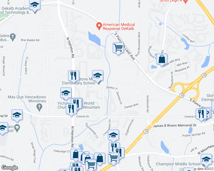 map of restaurants, bars, coffee shops, grocery stores, and more near 4900 Sheila Ln in Stone Mountain