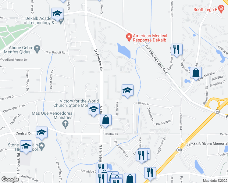 map of restaurants, bars, coffee shops, grocery stores, and more near 42-44 Chatfield Drive in Stone Mountain