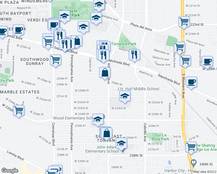 map of restaurants, bars, coffee shops, grocery stores, and more near 23008 Arlington Ave in Torrance