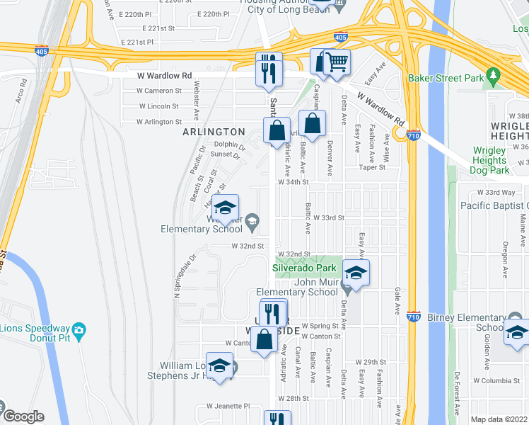 map of restaurants, bars, coffee shops, grocery stores, and more near 3245 Santa Fe Avenue in Long Beach