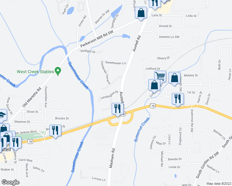 map of restaurants, bars, coffee shops, grocery stores, and more near 3080 Landington Drive in Austell