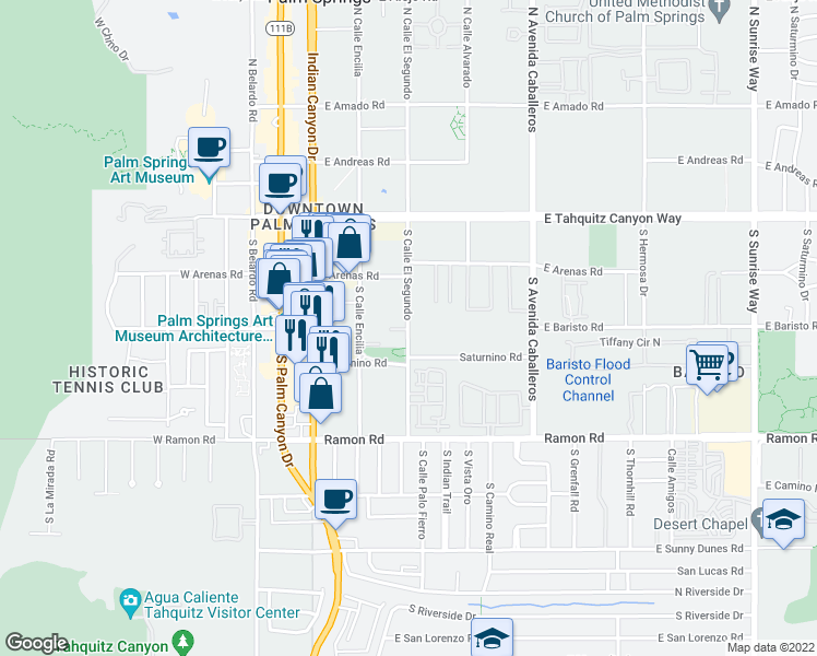 map of restaurants, bars, coffee shops, grocery stores, and more near 302 S Calle Encilia in Palm Springs