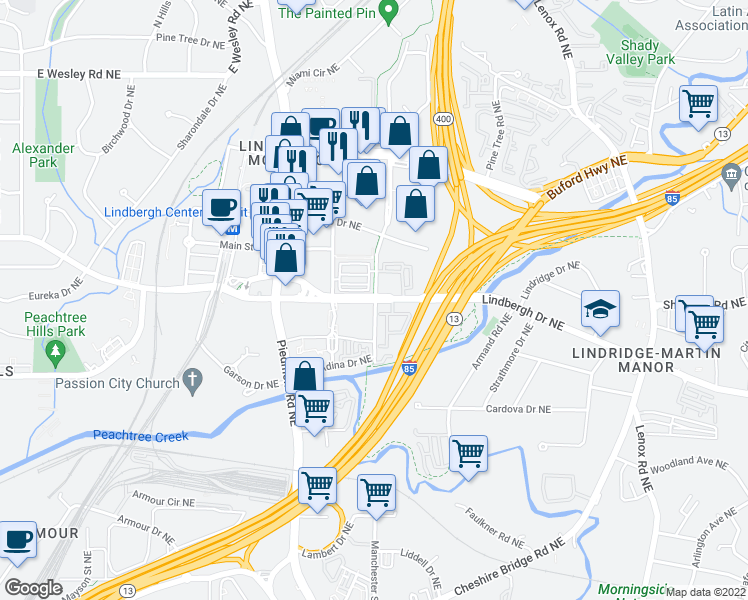 map of restaurants, bars, coffee shops, grocery stores, and more near 764 Lindbergh Drive Northeast in Atlanta