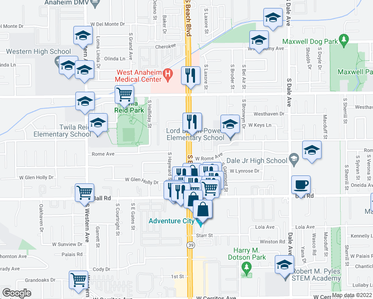 map of restaurants, bars, coffee shops, grocery stores, and more near 733 S Beach Blvd in Anaheim