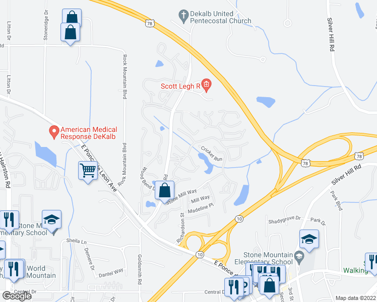 map of restaurants, bars, coffee shops, grocery stores, and more near 5282-7940 Tree Mountain Parkway in Stone Mountain