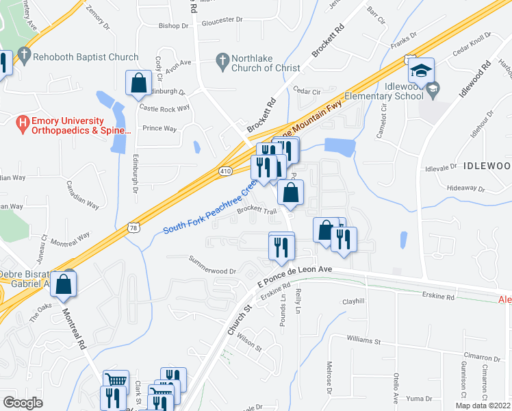 map of restaurants, bars, coffee shops, grocery stores, and more near 3800 Brockett Trail in Clarkston
