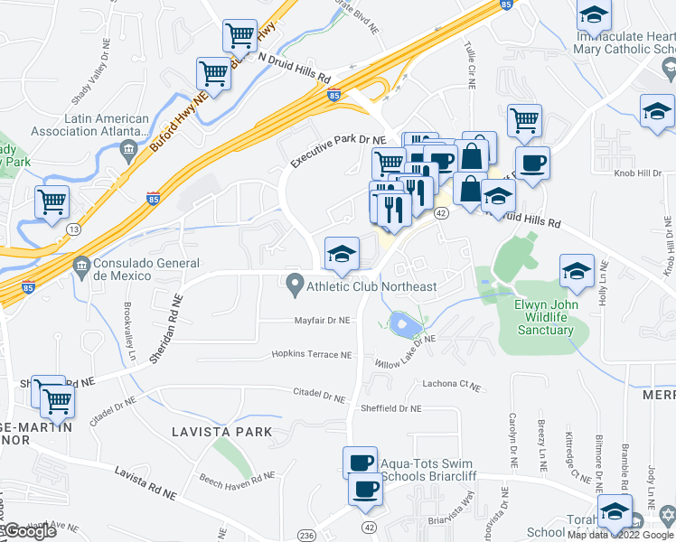 map of restaurants, bars, coffee shops, grocery stores, and more near 1570 Sheridan Rd NE in Atlanta