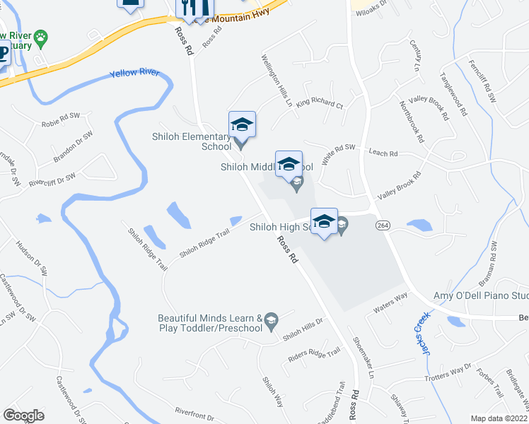 map of restaurants, bars, coffee shops, grocery stores, and more near 2490 Ross Rd in Snellville