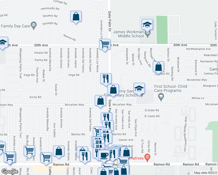 map of restaurants, bars, coffee shops, grocery stores, and more near 30855 Date Palm Dr in Cathedral City