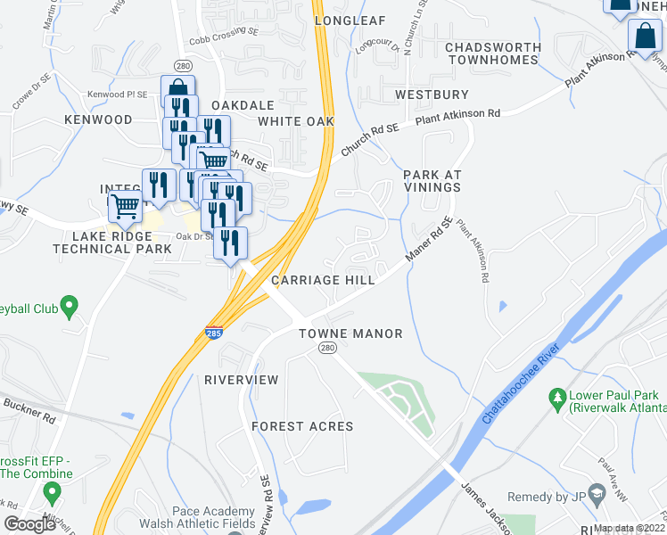 map of restaurants, bars, coffee shops, grocery stores, and more near Kershaw Court Southeast in Smyrna