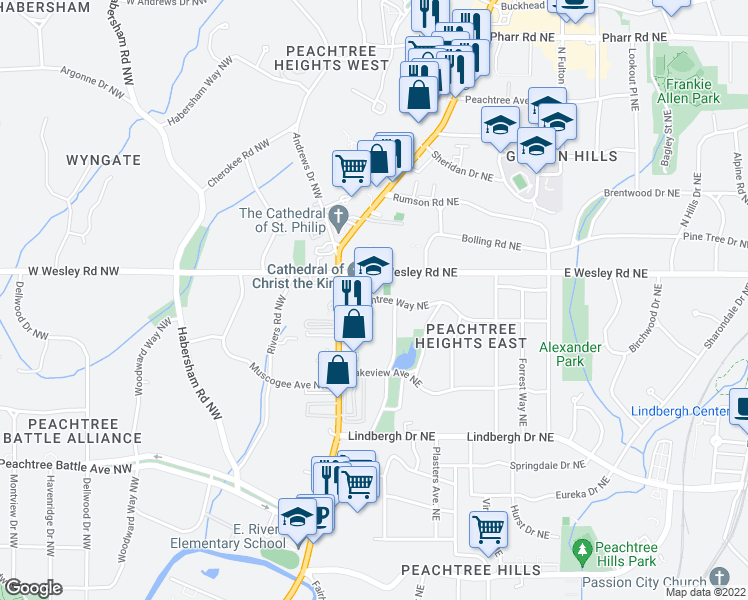 map of restaurants, bars, coffee shops, grocery stores, and more near 58 Peachtree Way Northeast in Atlanta