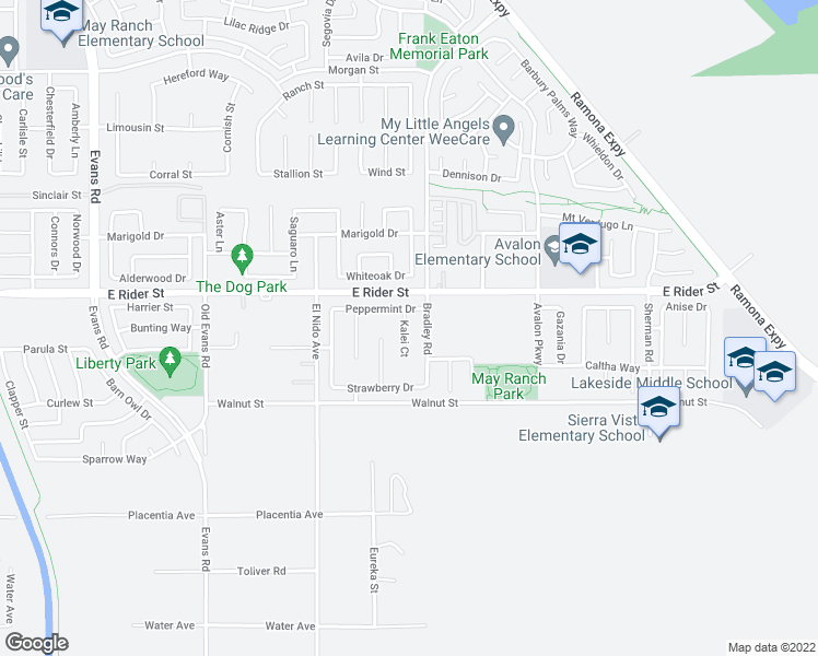 map of restaurants, bars, coffee shops, grocery stores, and more near 3071 Kalei Ct in Perris