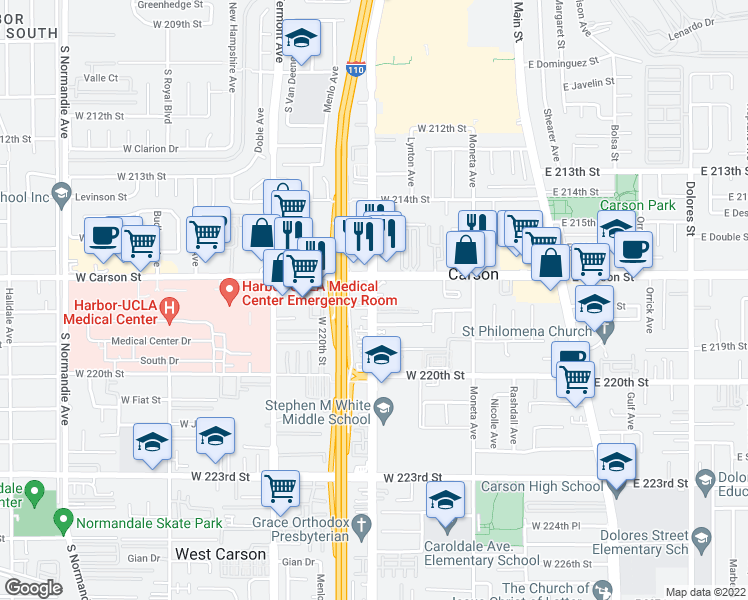 map of restaurants, bars, coffee shops, grocery stores, and more near 21710 Figueroa St in Carson