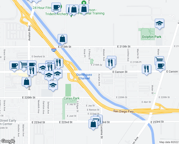map of restaurants, bars, coffee shops, grocery stores, and more near E Carson St & S Perry St in Carson