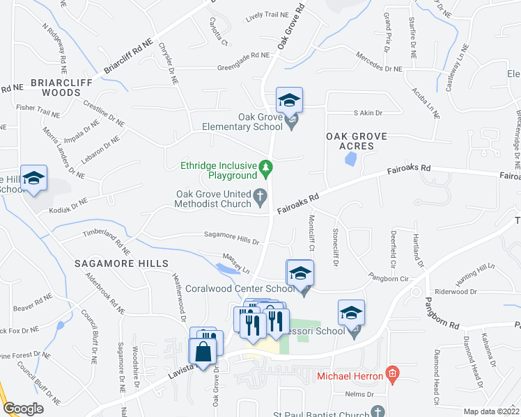 map of restaurants, bars, coffee shops, grocery stores, and more near 2374 Fairoaks Road in Decatur
