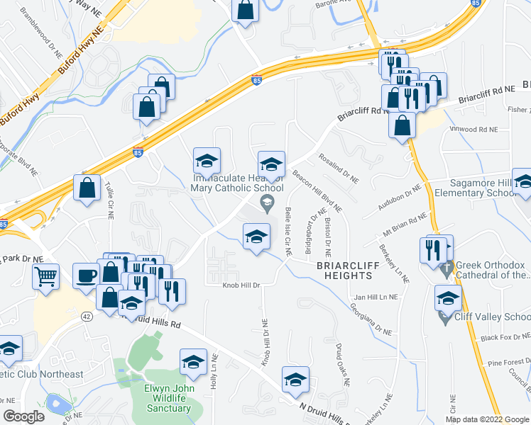 map of restaurants, bars, coffee shops, grocery stores, and more near 1724 Belle Isle Circle Northeast in Atlanta