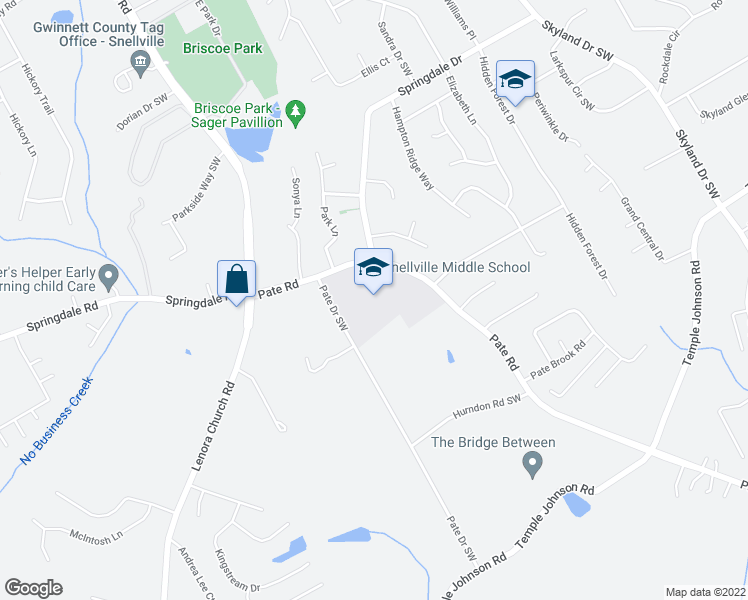 map of restaurants, bars, coffee shops, grocery stores, and more near 3155 Pate Road in Snellville