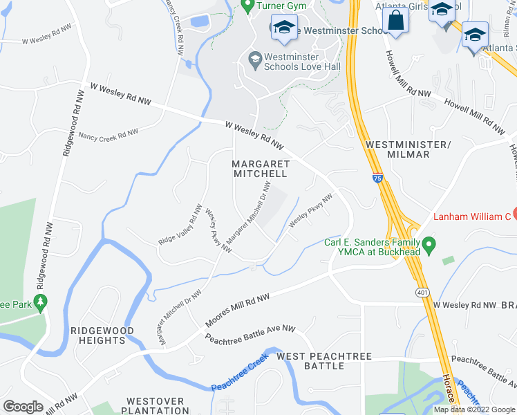 map of restaurants, bars, coffee shops, grocery stores, and more near 2875 Sequoyah Drive Northwest in Atl