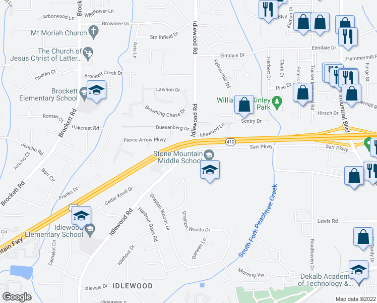 map of restaurants, bars, coffee shops, grocery stores, and more near Stone Mountain Freeway in Tucker