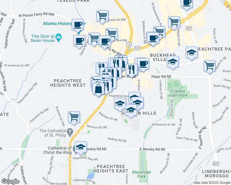 map of restaurants, bars, coffee shops, grocery stores, and more near 12 Peachtree Avenue Northeast in Atlanta