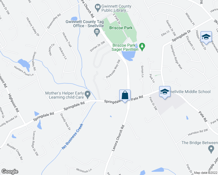 map of restaurants, bars, coffee shops, grocery stores, and more near 3070 Olde Parkside Ct SW in Snellville