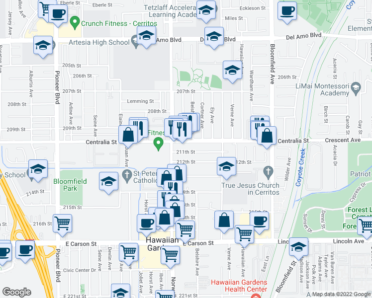 map of restaurants, bars, coffee shops, grocery stores, and more near 12239 211th Street in Lakewood