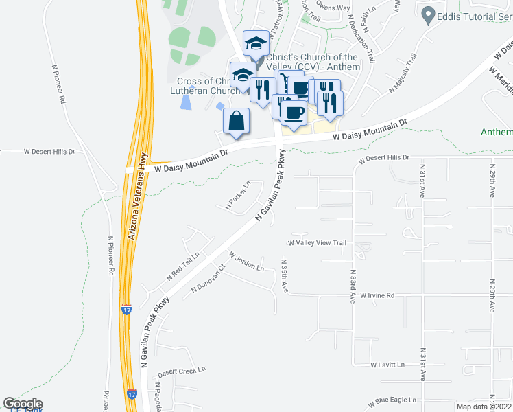 map of restaurants, bars, coffee shops, grocery stores, and more near 39153 North Acadia Way in Anthem
