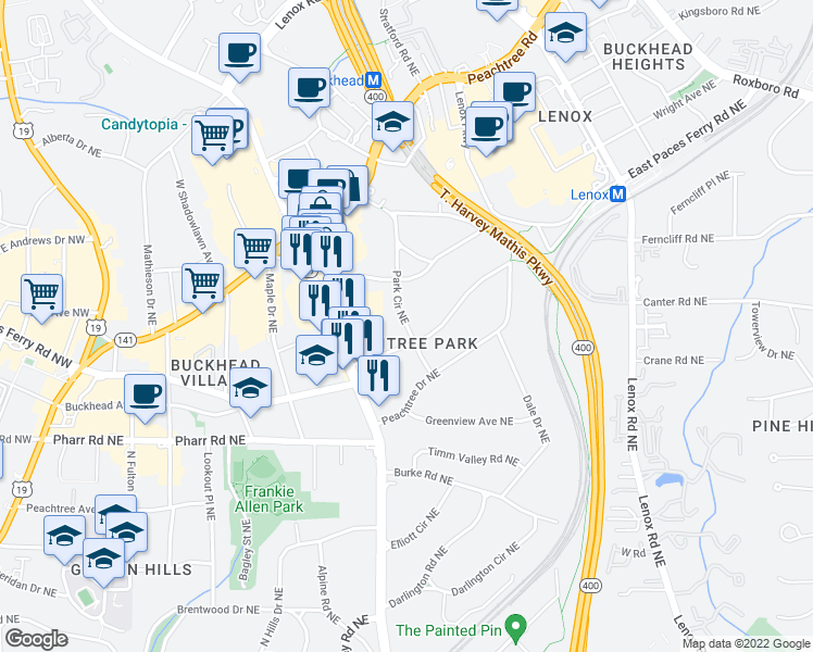 map of restaurants, bars, coffee shops, grocery stores, and more near 100 Park Cir NE in Atlanta
