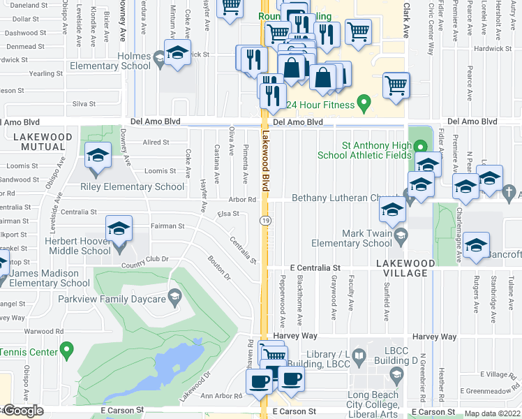 map of restaurants, bars, coffee shops, grocery stores, and more near Lakewood Blvd in Lakewood