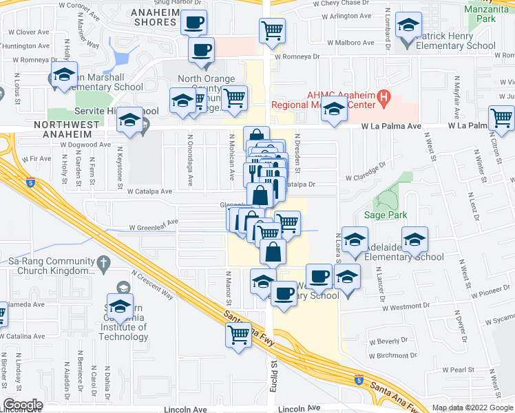 map of restaurants, bars, coffee shops, grocery stores, and more near 815 West Glenoaks Avenue in Anaheim