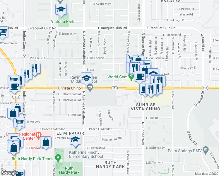 map of restaurants, bars, coffee shops, grocery stores, and more near 1001-1399 E Vista Chino in Palm Springs