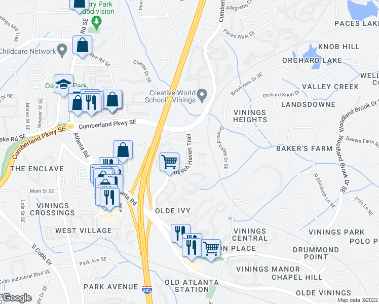 map of restaurants, bars, coffee shops, grocery stores, and more near 4332-4348 Gilmore Road Southeast in Smyrna