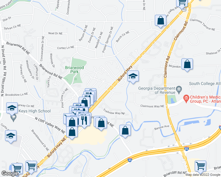 map of restaurants, bars, coffee shops, grocery stores, and more near 3460 Buford Hwy NE in Atlanta