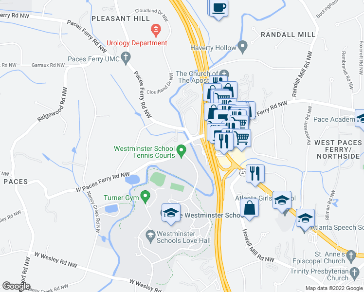 map of restaurants, bars, coffee shops, grocery stores, and more near 1474 West Paces Ferry Road Northwest in Atlanta