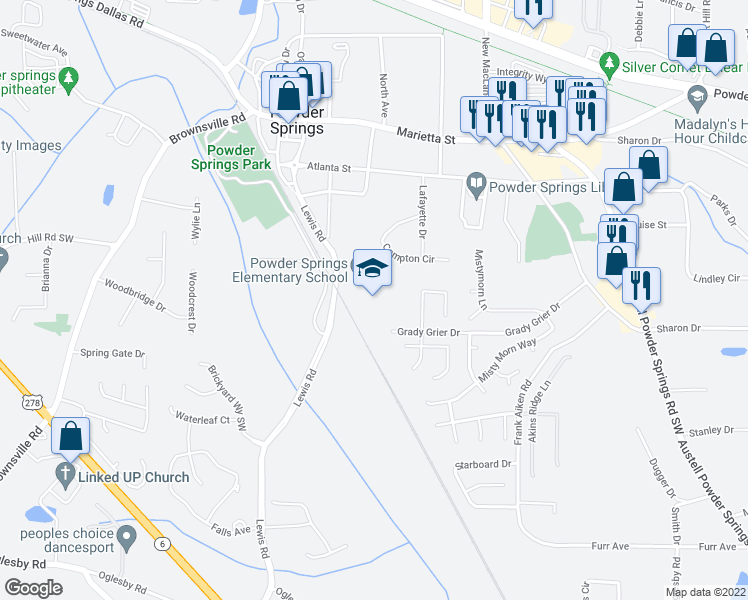 map of restaurants, bars, coffee shops, grocery stores, and more near 4570 Grady Grier Drive in Powder Springs