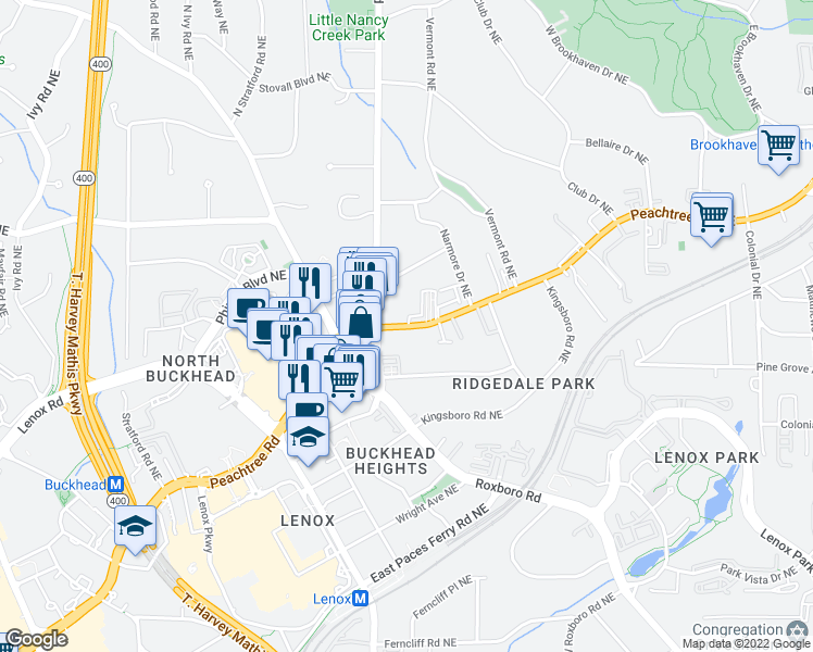 map of restaurants, bars, coffee shops, grocery stores, and more near 3645 Peachtree Rd in Atlanta