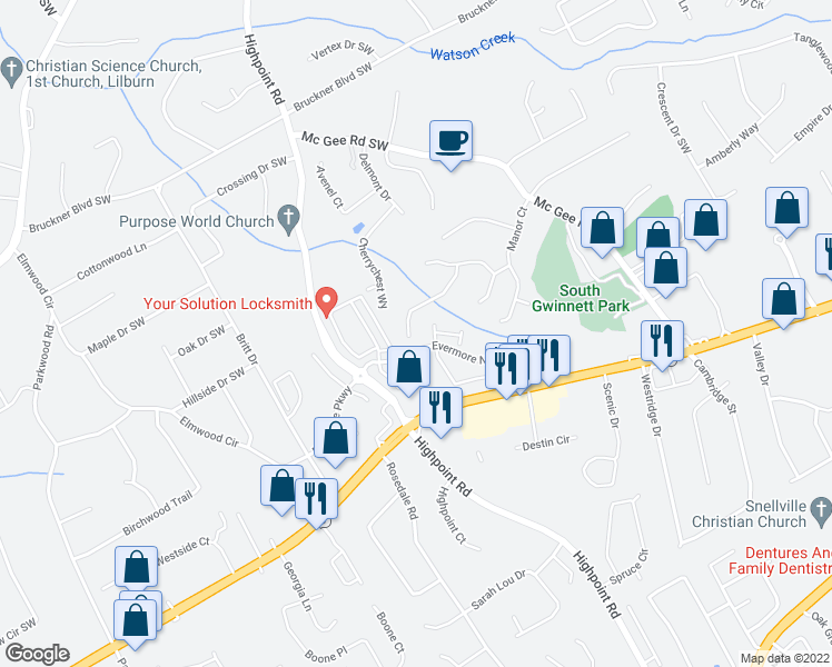 map of restaurants, bars, coffee shops, grocery stores, and more near 3204 Ashwood Grove Park in Snellville