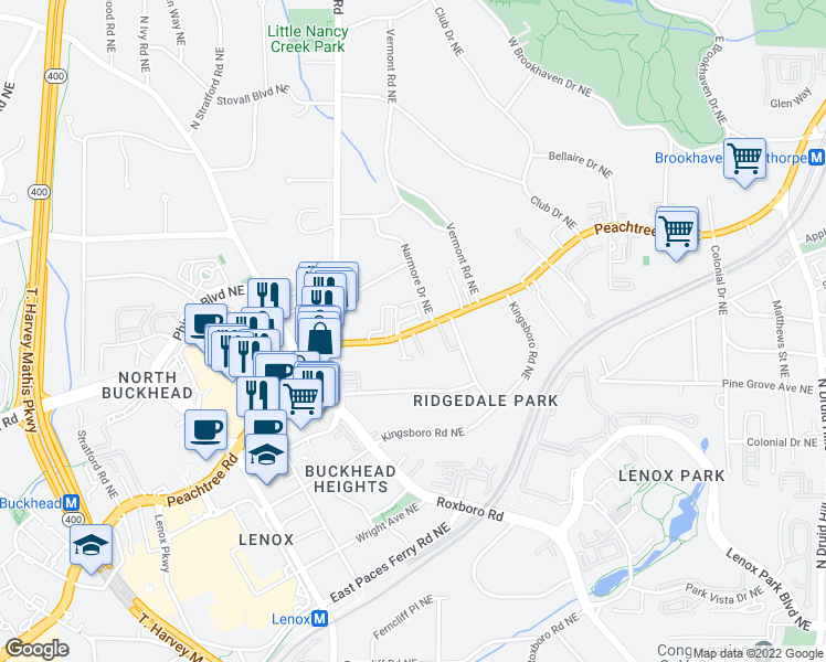 map of restaurants, bars, coffee shops, grocery stores, and more near 3660 Peachtree Road Northeast in Atlanta