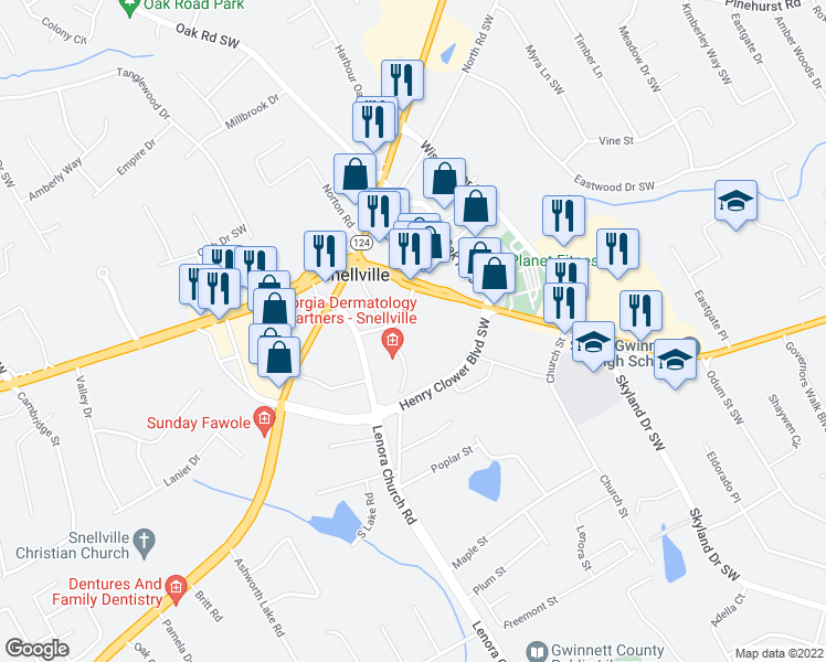 map of restaurants, bars, coffee shops, grocery stores, and more near 2300-2412 Pate Street North in Snellville