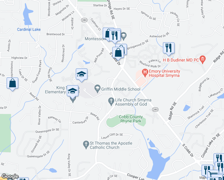 map of restaurants, bars, coffee shops, grocery stores, and more near King Springs Village Pkwy in Smyrna