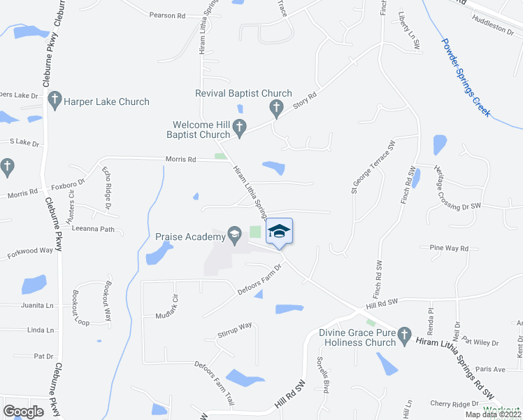 map of restaurants, bars, coffee shops, grocery stores, and more near 3980 Hiram Lithia Springs Road Southwest in Powder Springs