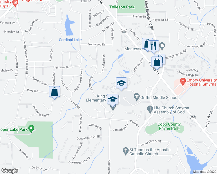map of restaurants, bars, coffee shops, grocery stores, and more near 3740 Walton Way Southeast in Smyrna