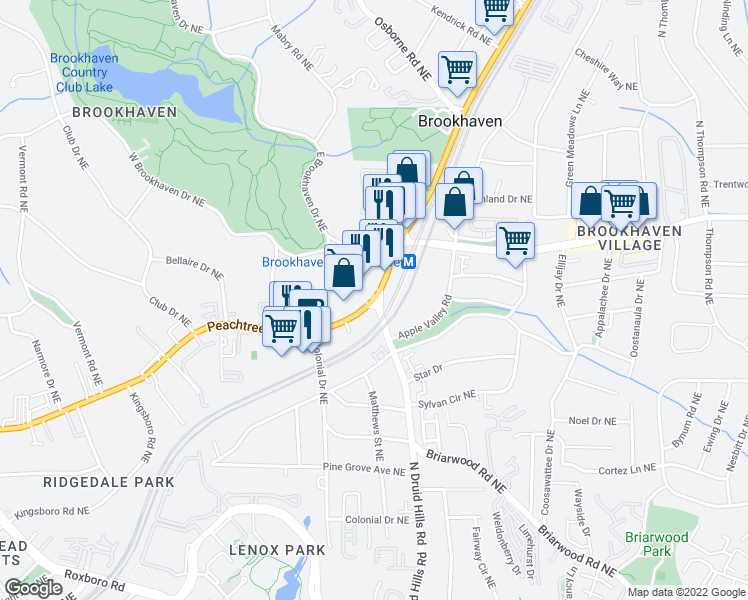 map of restaurants, bars, coffee shops, grocery stores, and more near Peachtree Rd NE & N Druid Hills Rd in North Atlanta