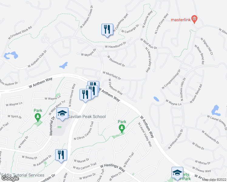 map of restaurants, bars, coffee shops, grocery stores, and more near 2333 West Firethorn Way in Anthem