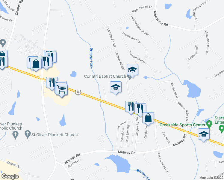 map of restaurants, bars, coffee shops, grocery stores, and more near 3228 Brushy Drive in Loganville