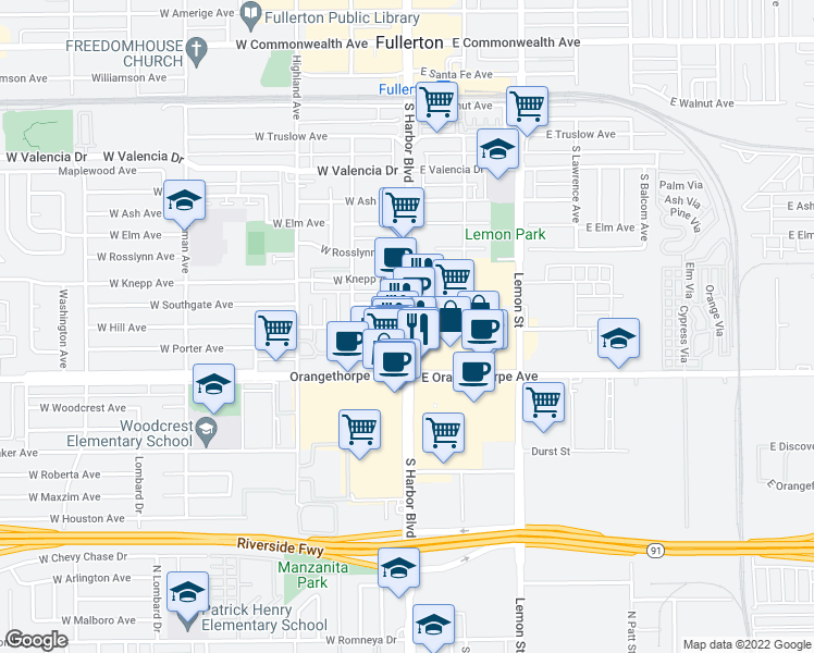 map of restaurants, bars, coffee shops, grocery stores, and more near S Harbor Blvd & W Hill Ave in Fullerton