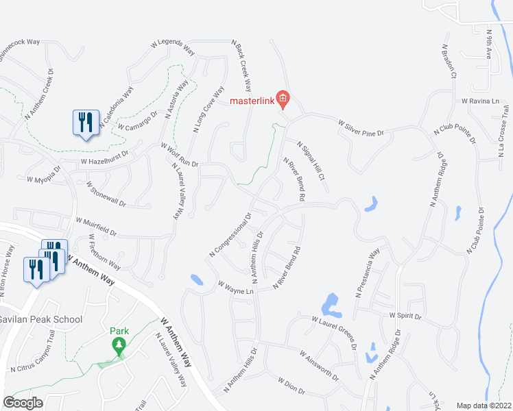 map of restaurants, bars, coffee shops, grocery stores, and more near 1920 West Muirfield Court in Anthem