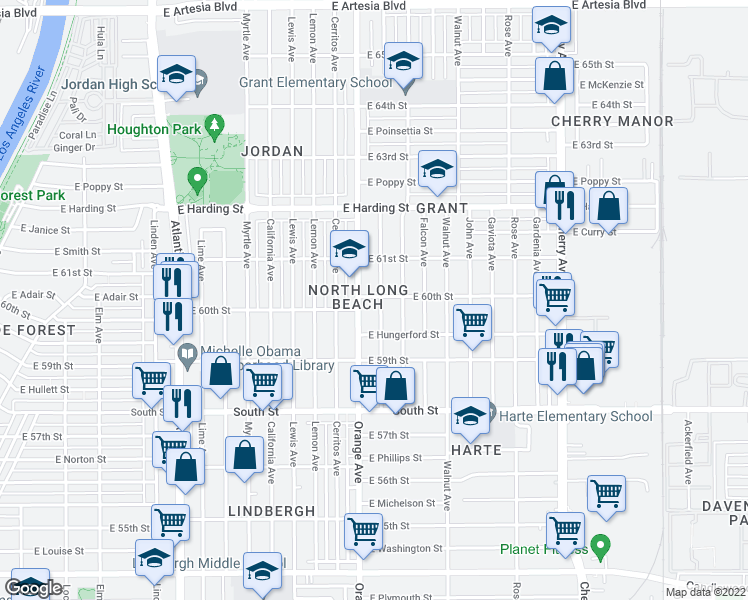 map of restaurants, bars, coffee shops, grocery stores, and more near in Long Beach