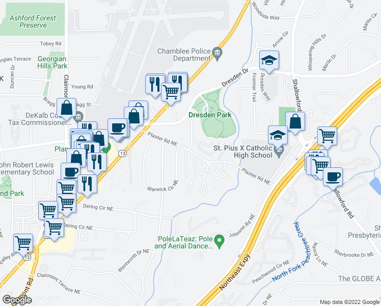 map of restaurants, bars, coffee shops, grocery stores, and more near 2219 Plaster Road Northeast in Atlanta