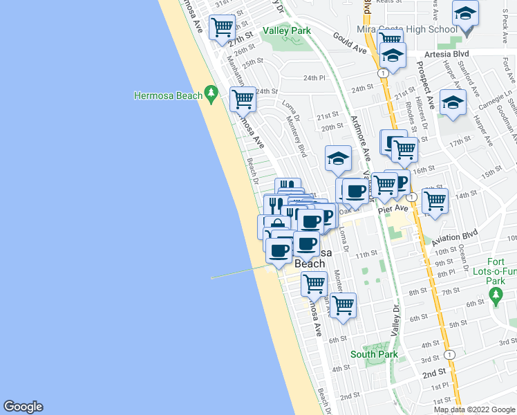 map of restaurants, bars, coffee shops, grocery stores, and more near The Strand in Hermosa Beach